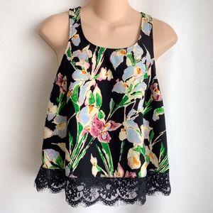 Topshop floral tank top lace detail